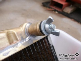 Plug Installed in Testing Moke Radiator
