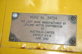 Brass Plate on the Last Moke Built