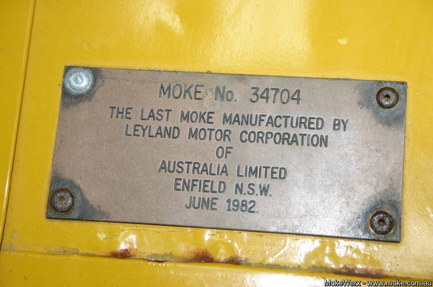 Brass Plate on the Last Moke Built large image