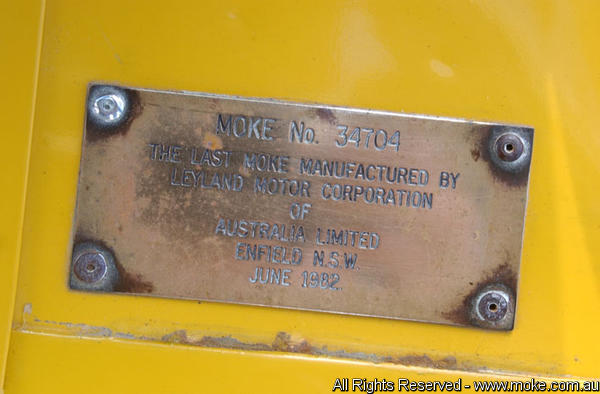 Plaque on last moke to leave the Assembly line