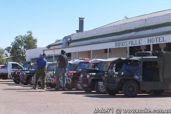 Mokes lined up outside the Birdsville Hotel