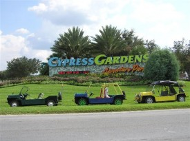 International Moke Day in Cypress Gardens Florida. Parked in front of the sign