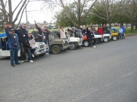 International Moke Day in North East Victoria. Line up of Cars at start